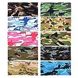 BUONDAC 10 Stk / 10 Farben Schlauchtuch Multifunktionstuch für Damen und Herren Schlauchschal Halstuch Kopftuch (10 Farben Tarnung)