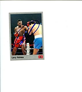 Larry Holmes WBC Heavyweight Boxing HOF Champ AW Signed Autograph Photo Card - Autographed Boxing Equipment