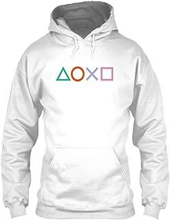 Total Basics Joystick Buttons - Games, Gamer, Hobby, Play Premium White Unisex Hoodie