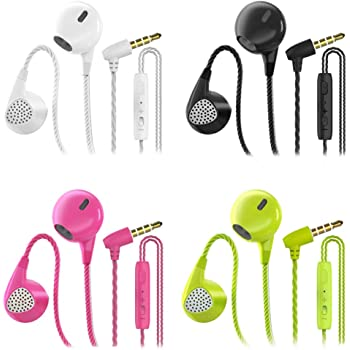 Headphones Heavy Bass Stereo Earphones Earbuds Noise Isolating Tangle Free Headsets CBGGQ in Ear Headphones with Remote & Microphone,for iOS and Android,Laptops,Gaming(Black+White+Pink+Green 4 Pack)