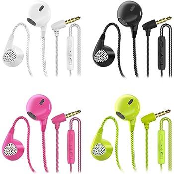 CBGGQ 4 Paires Écouteurs Intra-Auriculaires, Oreillettes Intra-Auriculaires Filaires Anti-Bruit Casque Ergonomique Stéréo avec Microphone pour iOS et Smartphones Android,MP3 etc.(Noir+Blanc+Rose+Vert)