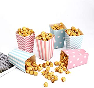 Miss C.CAT Popcorn Boxes Trio(30 Boxes) Polka Dot, Chevron, and Striped Assorted Designs - Movie Theater Night, Festivals, Wedding Favors (Blue,Pink)