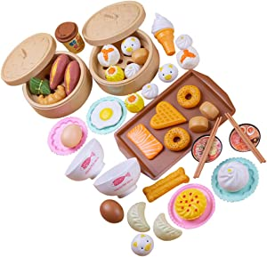 STOBOK 46Pcs of 1Set Chinese Breakfast Food Playset, Chinese Play Food Cooking Toys Children Pretend Play Food Toy Simulation Kitchen Set Toy for Girls Boys Kids Toddlers