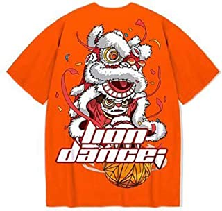 Cotton T-shirt Lion Dance Print Tide brand Hip Hop short sleeve Tee Chinese style man Summer street Fashion Casual top Hyococ (Color : Orange, Size : 5XL)