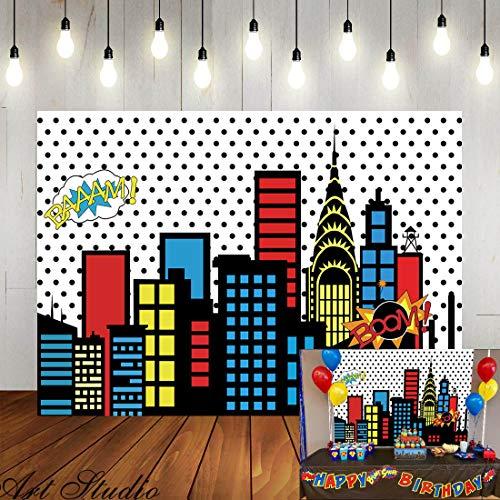 Art Studio 5x3ft Superhero Super City Photography Backdrops Skyline Buildings City Boom Photo Background Children Birthday Party Banner Photo Studio Booth Cake Table Decor Vinyl