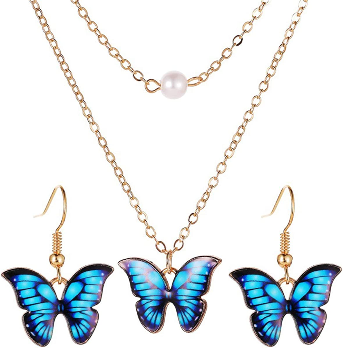 Butterfly Pendant Necklace Earrings Rare Fashion Set Necklaces Choker Challenge the lowest price of Japan