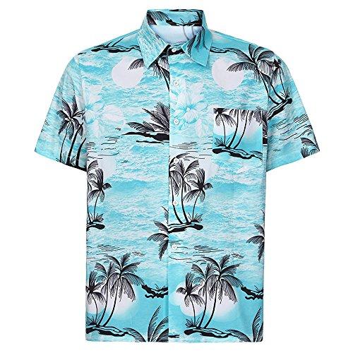 Ouneed- Camicia a Maniche Corte Estiva Uomo Arancione Stampa 3D Beach Palmo a Base di Palme da Cocco Hawaiian Beach Tops Casual Girocollo Tops per Uomo Beach Party