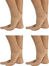 4 Pairs Sheer Pop Socks | Non-Elastic Ankle Sock | 20 Den | Black, Skin | Italian Hosiery |