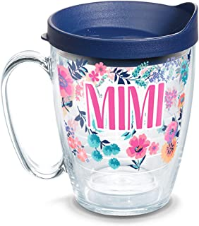 Tervis 1314905 Mimi Dainty Floral Insulated Travel Tumbler with Wrap and Navy Blue Lid, 16 oz Mug - Tritan, Clear