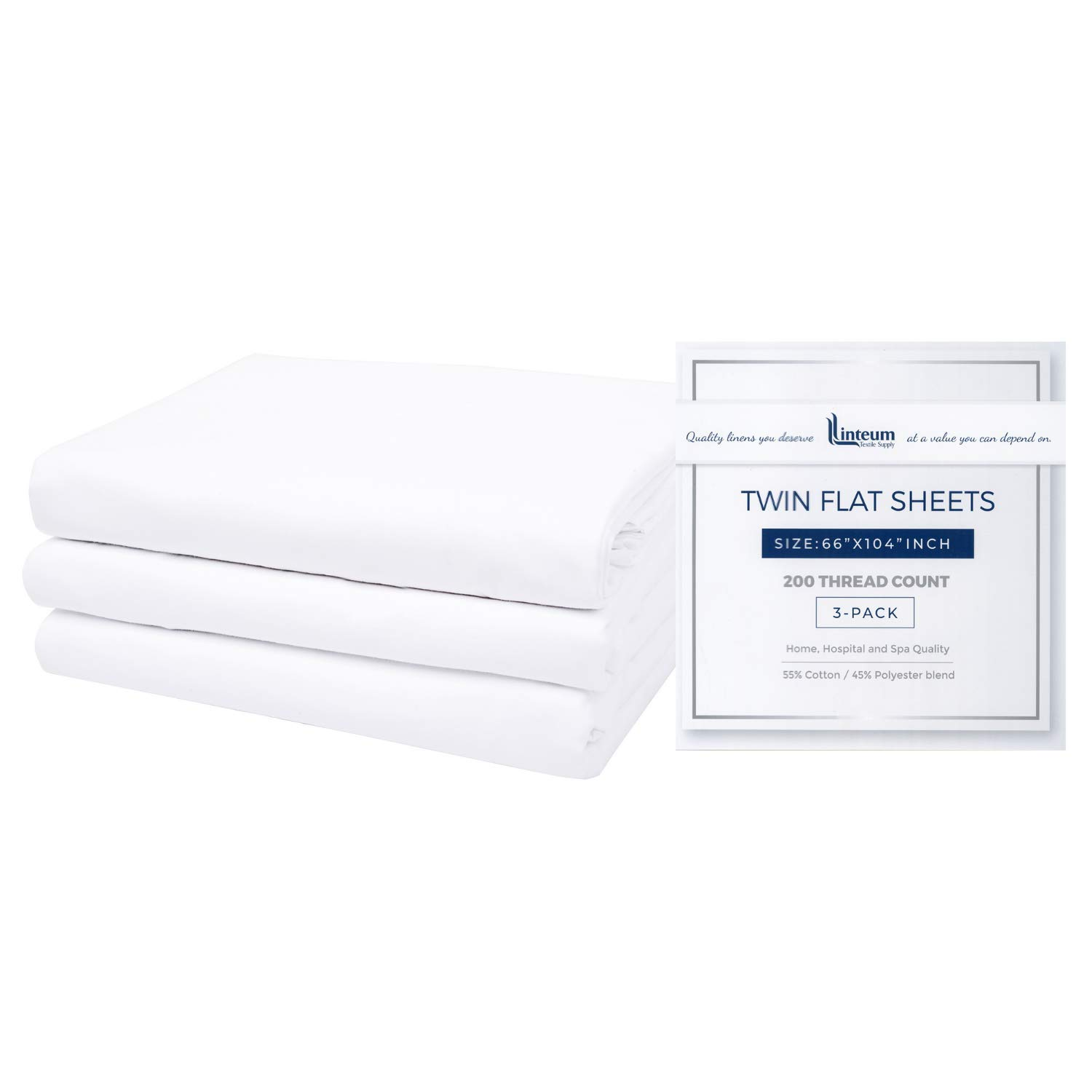 Linteum Textile White Twin Industry No. 1 Flat Blended Cotton Sheets 20 – Selling