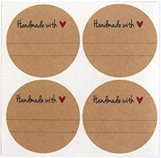 Handmade with Love Labels with Red Heart Design by Once Upon Supplies, Canning Mason Jar Labels Stickers, 2.5 Inches Size ...