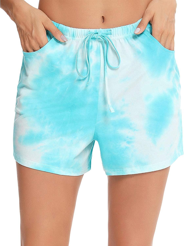 EISHOPEER Women's Pajama Shorts Comfy Lounge Drawstring Sleeping Pj Bottoms for Sleep Gym Running