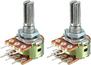 uxcell® WH148 1K Ohm Variable Resistors Dual Turn Rotary Carbon Film Taper Potentiometer 6 Pin 2pcs