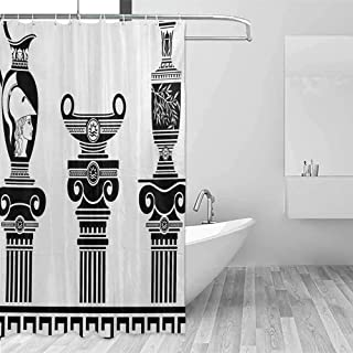 Xlcsomf Sliding Shower Curtain Toga Party Hellenic Vases and Ionic Columns Artistic Design Amphora Antiquity Culture Easy to Care Black and White,W48 xL72