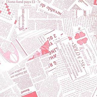 【フジパック】 英字新聞紙柄 包装紙 ラッピングペーパー 100枚 おしゃれでかわいいデザイン お花/プレゼント/ギフト (ピンク)