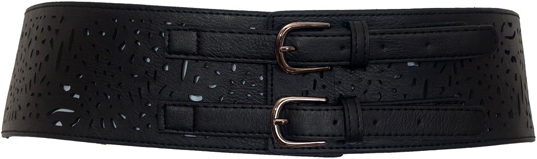 EVogues Plus Size Vintage Faux Leather Wide Elastic Belt
