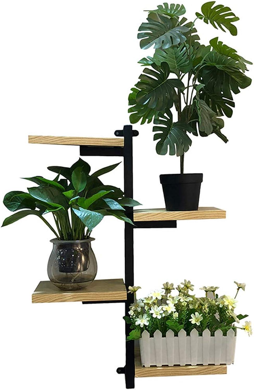 XIAOYAN Shelves Wood + Wrought Iron Shelf 4 Tier Wall-Mounted Bookshelf Flower Stand Punch-Free 42  15  60cm