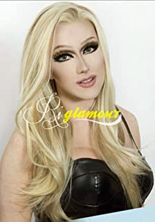 Riglamour Mixed Blonde Brown Highlights Wig Straight Heat Resistant Synthetic Lace Front Wigs Half Hand Tied 100% Fiber Hair 2 Tones