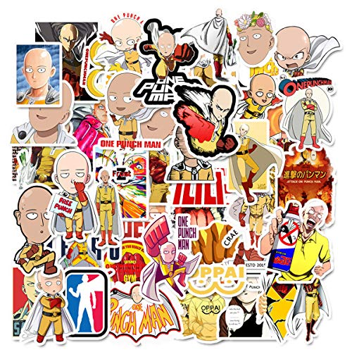 ONE Punch-Man Sticker Pack of 50 Stickers - Waterproof Durable Stickers Classic Japanese Anime Stickers for Water Bottles Computers Laptops
