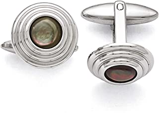 Lex & Lu Chisel Stainless Steel Polished Black Mother of Pearl Cuff Links