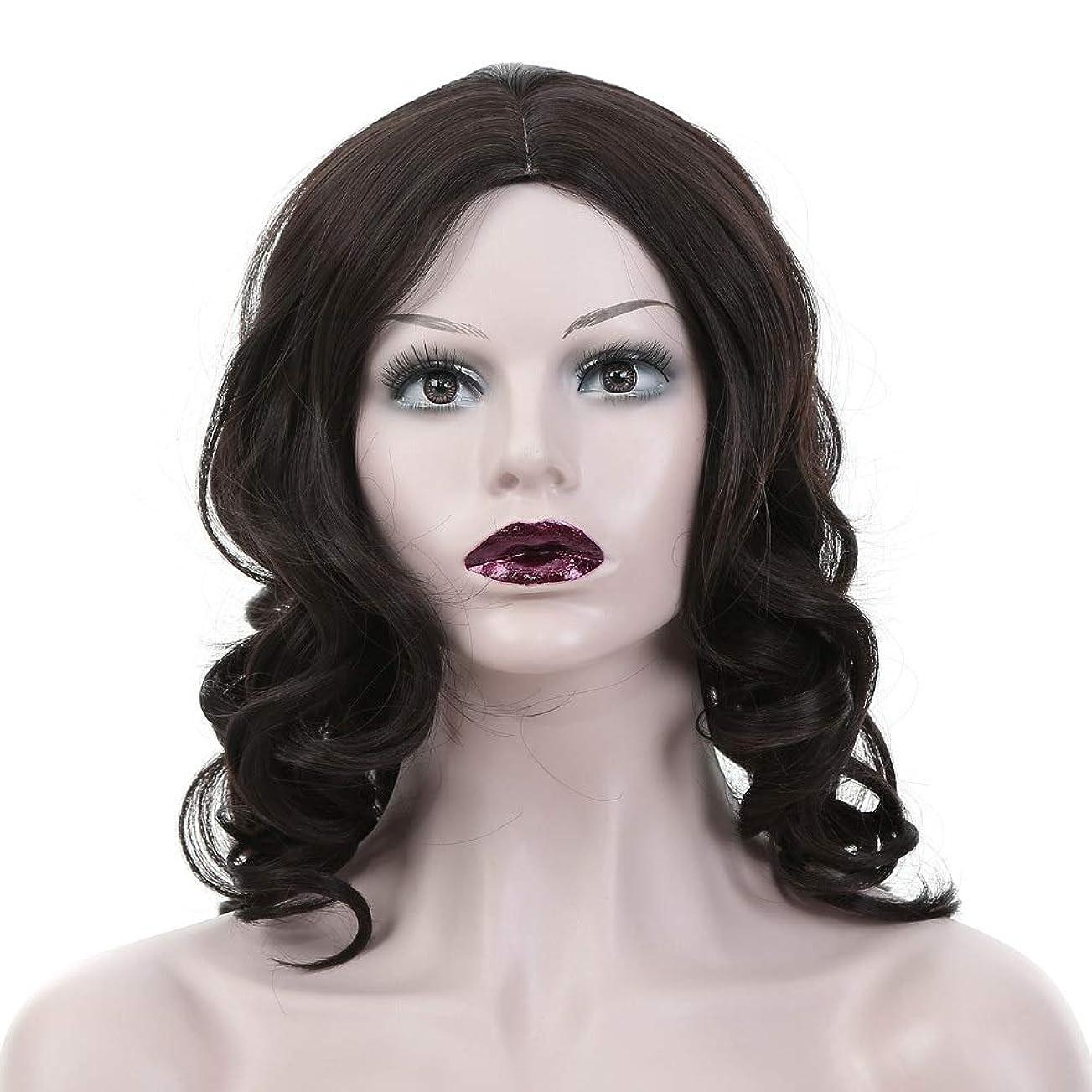 地平線彼女の代名詞Yrattary 女性の黒の長い巻き毛の中間別れの人工毛毎日のかつら (色 : 黒)