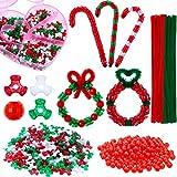 Kit de Adorno Navideño con Cuentas, 600 Cuentas de Árbol de Navidad de 10 mm, 200 Cuentas de Vidrio Redondo Rojo Navideño, 50 Vástago de Chenilla Limpiapipas de Navidad con Caja de Almacenamiento