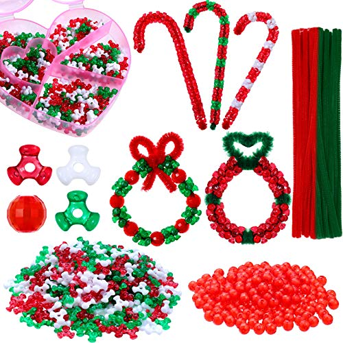 850 Pieces Christmas Beaded Ornament Kit, 600 10 mm Christmas Tree Bead, 200 Christmas Red Round Glass Bead, 50 Christmas Pipe Cleaner DIY Craft with Storage Box for Christmas Tree Hanging Decoration