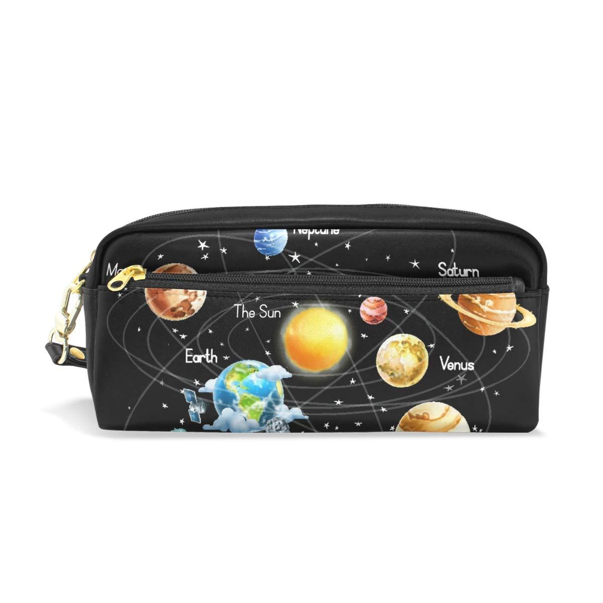 Estuche para lápices con diseño de planetas del espacio exterior con sistema solar, gran capacidad, para maquillaje, cosméticos, oficina, viajes, bolsa: Amazon.es: Oficina y papelería