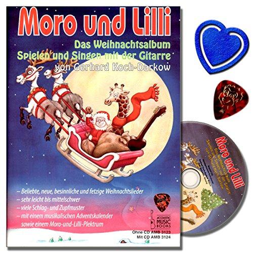 Moro und Lilli Das Weihnachtsalbum - Weihnachtslieder für Gitarre mit CD, Plek, Weihnachtskalender, bunter herzförmiger Notenklammer - viele Schlag- und Zupfmuster