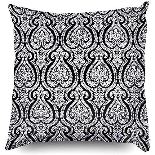 Copertine Federe 45X45Cm Elementi damascati Carte da parati Tessuti avvolgenti Squisiti motivi floreali Lancio, Fodera per cuscino per divano letto domestico