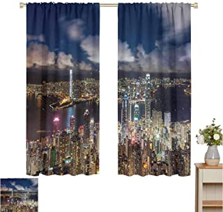 Fabric DIY Curtain for Living Room Night View Hong Kong Victoria Harbor Business Financial District Cityscape Print Thermal Insulated Blackout Patio Door Curtain Panel W55