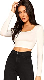 Women's Scoop Neck Long Sleeve Crop Tee Top
