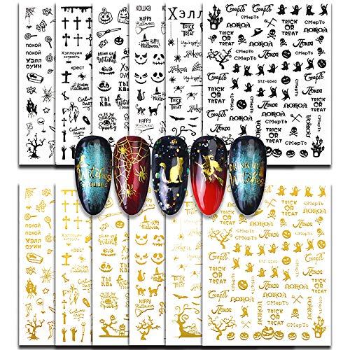 FLOFIA 12 Blatt Halloween Nagelsticker Selbstklebend Nagelaufkleber Nail Art Tipp Sticker Fingernägel Tattoo 3D Design Maniküre Decals Abziehbild DIY Dekoration