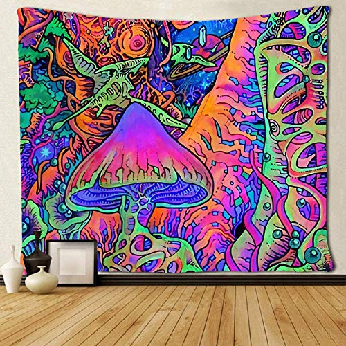 Mushroom Tapestry Wall Hanging, Trippy Tapestry Psychedelic Wall Art for Bedroom, Hippie Art Tapestry Pop Smoke Blacklight Room Decor, Small Tapestries Wall Decor Blanket for Living Room