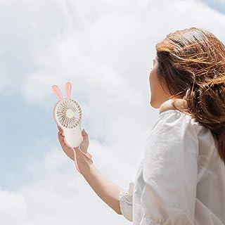 Mini Ventilador Usb, Mini Ventilador Portátil De Mano Rosa Espejo Ajustable De 3 Velocidades Orejas De Conejo Usb Batería Recargable Enfriamiento Eléctrico Para El Hogar Oficina De Viajes Deporte