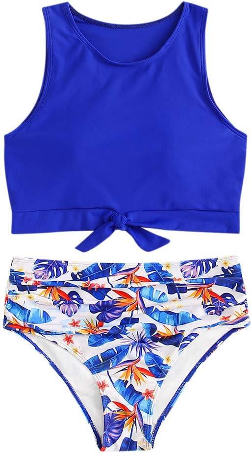 YOMXL Women's Sexy High lowest price Waisted Bikini Knot El Paso Mall Top Hem Flo Swimsuit