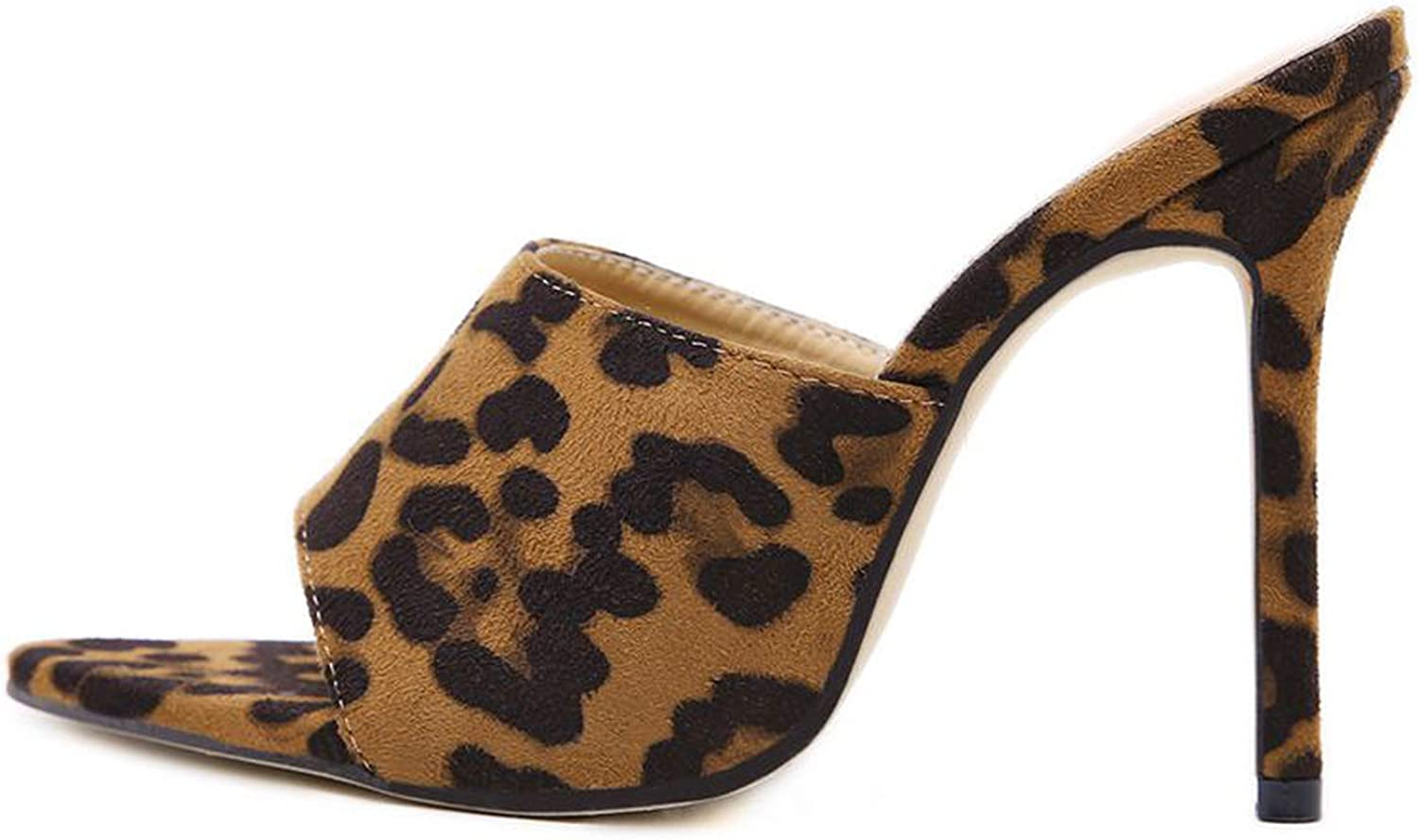 Oasrs Hot Pointy Toe Open High Heels Slippers Sandals Women's shoes Leopard Brown Ladies