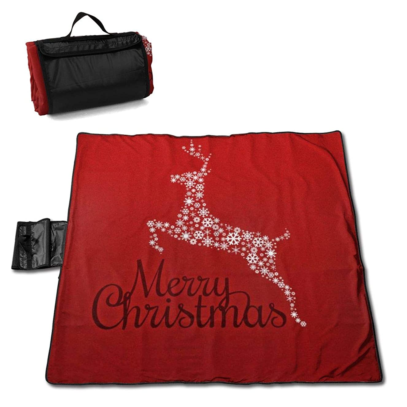 Beach Picnic Blanket Merry Christmas Eve Deer Waterproof Extra Large Outdoor Handy Mat Sand Free Camping Travelling Accessories Portable Family Tote On Lawn Outings Quick Dry Bag