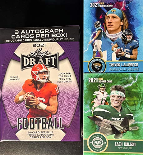 2021 Leaf Draft FOOTBALL Card Factory Sealed HOBBY Blaster Box w/ 3 AUTOGRAPHS Per Box1 - Look for Trevor Lawrence 1st Licensed ROOKIE Cards! - Includes Custom Trevor and Zach Wilson Cards Pictured!