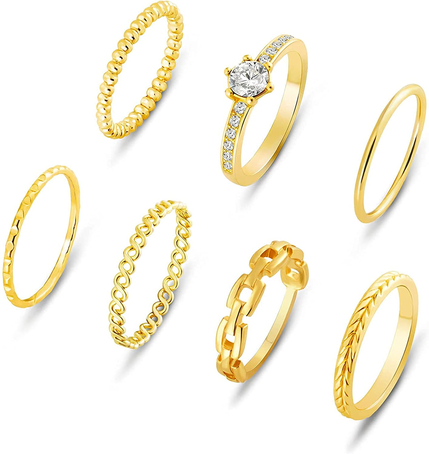Stackable Rings Set: 7pcs 14K Gold Simple Fashion Multiple Rings Kit Dainty CZ Gemstone Jewelry Pack for Women Teen Girls