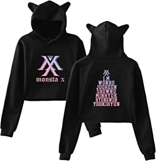 Qaedtls Kpop Monsta X Crop Top Hoodie IM Kihyun Jooheon Shownu Minhyuk Sweater