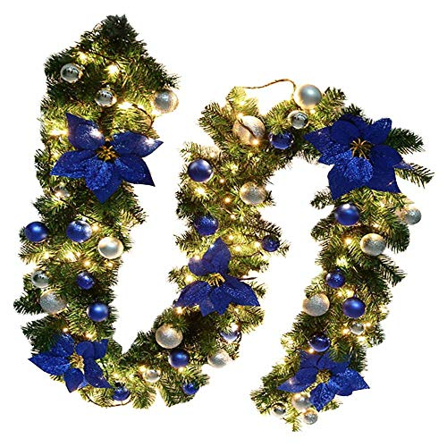 GWFVA 2.7M/9FT Pre-Lit Christmas Garland Illuminated with Lights Artificial Wreath Blue Baubles Flowers Xmas Tree Decoration (Blue)