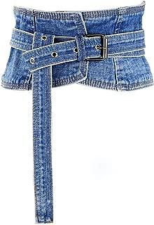 Women's Denim Waist Belt Retro Wide Corset Cinch Belt Waistband with Buckle