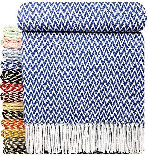 STTS International Baumwolldecke sehr weiches Plaid Wohndecke Kuscheldecke in versch. Farben Baumwolle Marbella Königsblau Zick-Zack