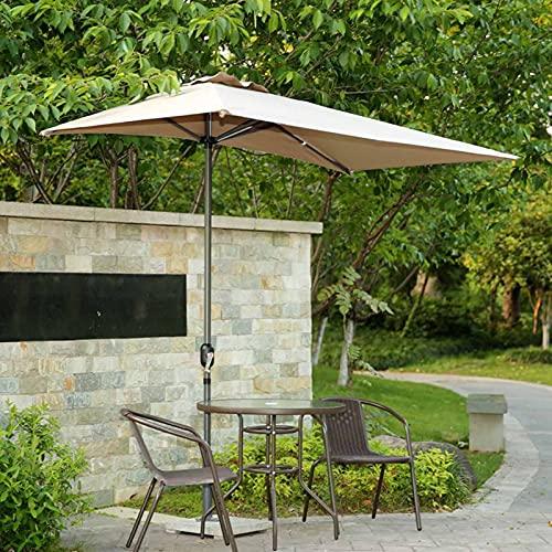 Sombrilla Terraza Parasol Jardin Mitad de Color Caqui Sombrilla Rectangular para Patio, UV50 + Against Wall Market Sombrilla de Mesa para Balcón, Ventana, Jardín, 2,5 × 1,3 M, Postes de Hierro