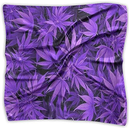Uridy Bequeme weiche Frauen-Dame Girl Purple Cannabis Weed Leaves Square Halstuch Scarf Head Wrap Bandanas Stirnband Neck Satin Schal