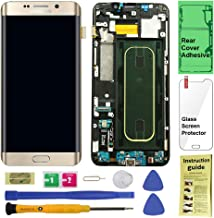 Display Touch Screen (AMOLED) Digitizer Assembly with Frame for Samsung Galaxy S6 Edge+ (Plus 5.7 inch) G928V (Verizon) (for Mobile Phone Repair Part Replacement) (Repair Tool Kits) (Gold Platinum)