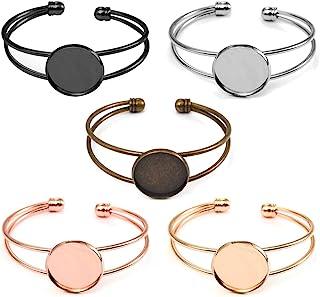 18mm gold Plated cuff Round bangle Blanks Bezel bracelet bronze diy bracelet Cabochons setting Base Jewelry Supplies Wholesale et036-4w