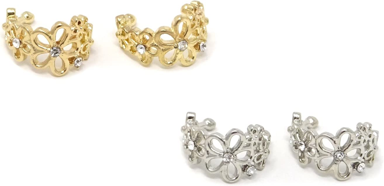 Attention brand Honbay 2 Pairs of Flower Earrings Opening large release sale Cuff Clip Non- Wrap Hollow Ear