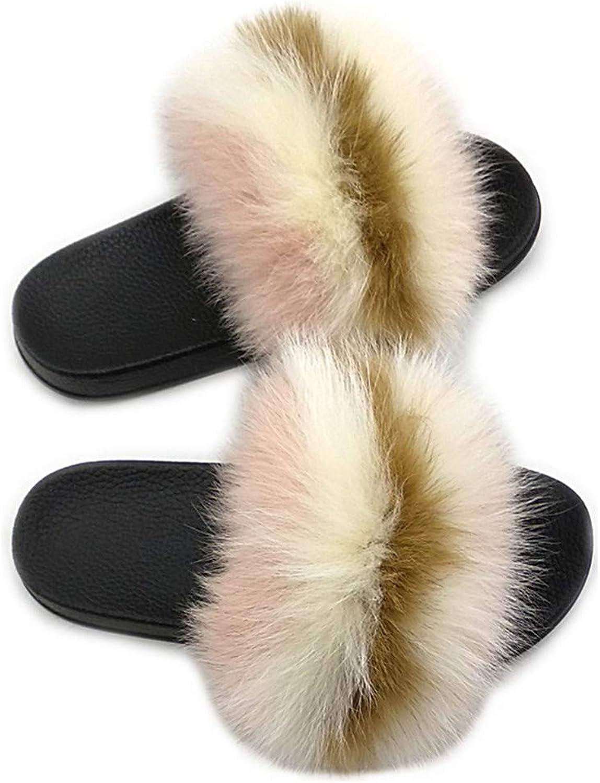 LSWJS Real Fur Slippers for Women Indoor&Outdoor Sandals Slide